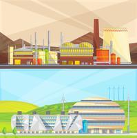 Industrie des déchets écologiques 2 bannières plates