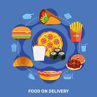 Affiche plate de service de livraison de restauration rapide