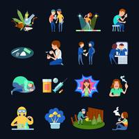 Ensemble d'images sur l'usage de substances vecteur