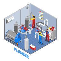 Composition de personnes plombier 3d
