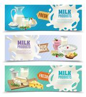 Ensemble de bannières horizontales pour produits laitiers vecteur