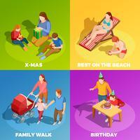 Activités familiales 4 Place des icônes isométriques vecteur