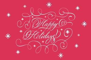 Lettrage joyeuses fêtes blanc sur rouge vecteur