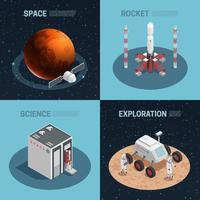 Jeu d'icônes isométrique espace fusée