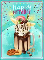 Affiche d'annonce de fête d'anniversaire de Freakshake extrême vecteur