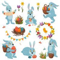 Ensemble de décorations de Pâques vecteur