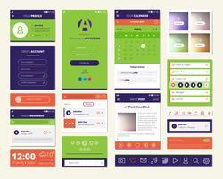 ensemble d'éléments d'écran d'applications mobiles vecteur
