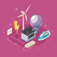 Concept isométrique d'électricité vecteur
