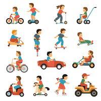 jeu d'icônes de transport pour enfants vecteur