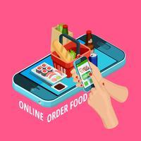 Affiche en ligne isométrique de commerce électronique de commande de nourriture