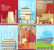 Affiche sur la composition écologique - Avertissement sur la pollution atmosphérique vecteur