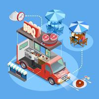 Affiche isométrique du service Street Food Trucks vecteur