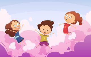 Compagnie d'enfants enjoués sautant contre des nuages de rose vecteur