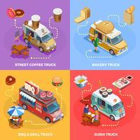 Food Truck 4 icônes isométriques Square vecteur
