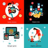 Enfants Internet Addiction 4 icônes plates