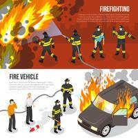 Bannières horizontales des pompiers