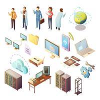 Datacenter Isometric Icons Set