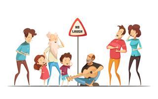 Familles Amis Moments hilarants Cartoon Illustration