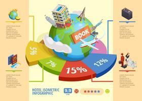 Infographie isométrique d'hôtel vecteur