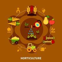 Composition de cercle d'icônes d'horticulture vecteur