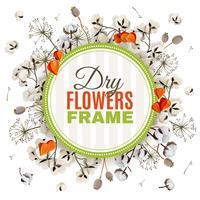 Fond floral avec cadre de fleurs séchées