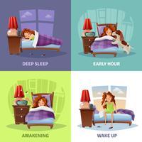 Concept de design 2x2 du matin avec réveil