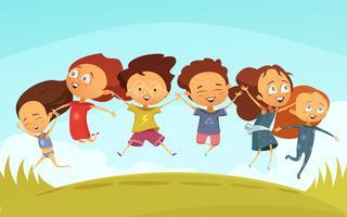 Équipe, de, joyeux amis, tenant mains, et, sauter
