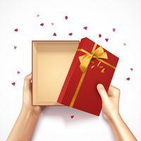 Composition de boîte de cadeau de confettis vecteur