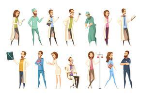 Caractères d'infirmière mis en style rétro bande dessinée vecteur