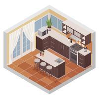 Composition isométrique intérieure de cuisine vecteur