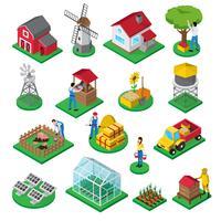 Jeu d'icônes isométriques de travailleurs des installations agricoles