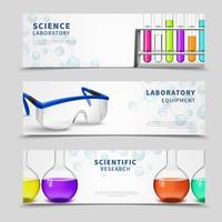 Ensemble de bannières de science de laboratoire vecteur