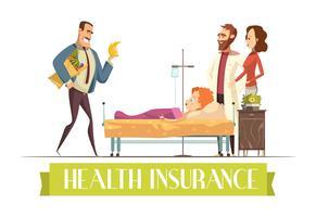 Illustration de dessin animé de travail d'agent d'assurance santé