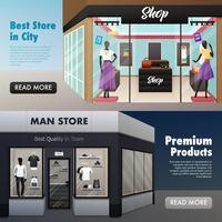 Bannières avant de magasin de mode