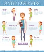 Infographie de dessin animé de maladies infantiles