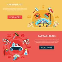 Bannières de lavage de voiture de nuit vecteur