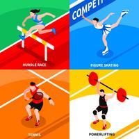 Concept isométrique de sport vecteur
