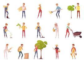 Jeu d'icônes de caractères de jardinier vecteur