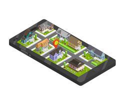 Concept de smartphone de bâtiments de ville