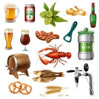 Collection d'icônes de bière Oktoberfest vecteur