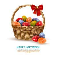 Image réaliste du panier en osier de Pâques vecteur