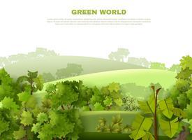 Affiche écologique de paysage vallonné de Green World vecteur