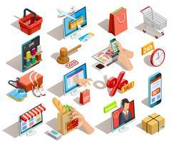 shopping e-commerce jeu d'icônes isométriques