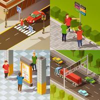 Composition isométrique de la navigation en ville vecteur