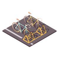 Concept de stationnement pour vélos vecteur