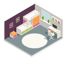 Composition isométrique de la chambre des enfants vecteur