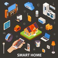Affiche isométrique d'appareils électroniques Smart Home vecteur