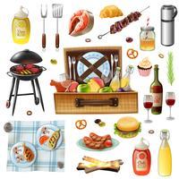 Set d'icônes réalistes barbecue famille pique-nique