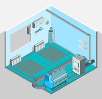 Gabarit isométrique intérieur pour système de refroidissement par chauffage vecteur