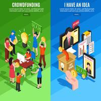 Bannières verticales isométriques de crowdfunding vecteur